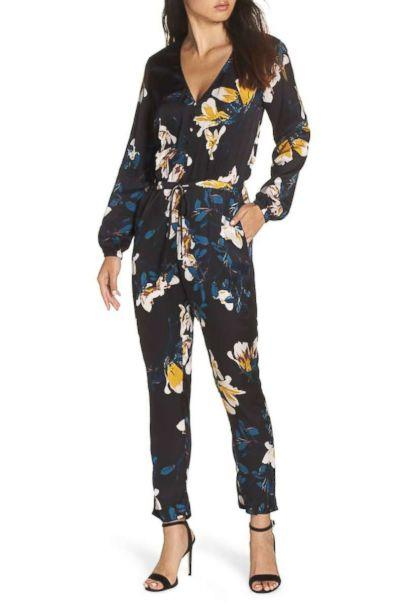PHOTO: Knot Sisters Josie Floral Satin Jumpsuit (Nordstrom)