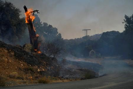 FILE PHOTO: A wildfire is seen near the city of Toledo
