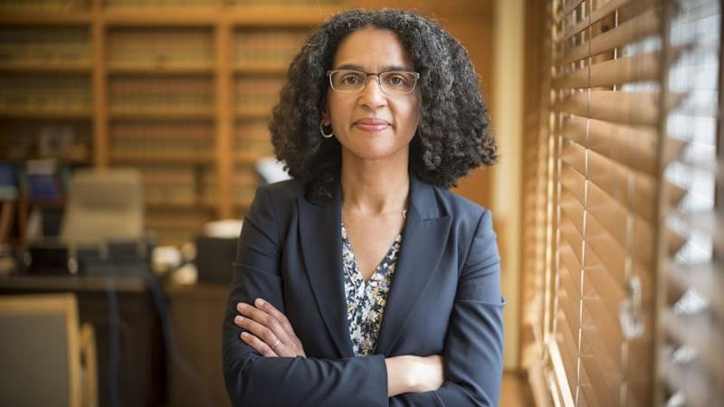 MAY 18, 2018 SAN FRANCISCO, CA. Justice Leondra Kruger working and poses for a portrait in her downt