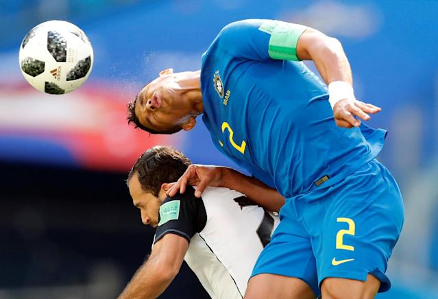 Soccer Football - World Cup - Group E - Brazil vs Costa Rica - Saint Petersburg Stadium, Saint Petersburg, Russia - June 22, 2018 Costa Rica's Marco Urena in action with Brazil's Thiago Silva REUTERS/Carlos Garcia Rawlins