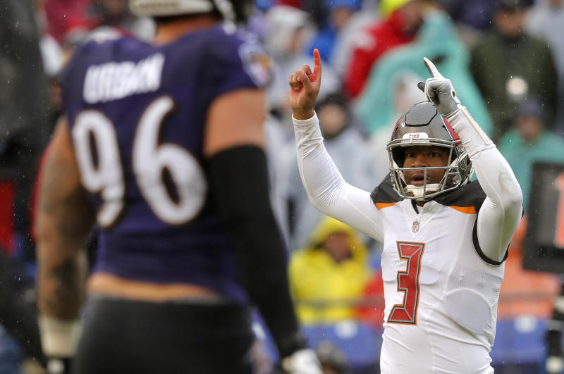 Tampa Bay Buccaneers quarterback Jameis Winston is in the final year of his rookie contract. (AP)