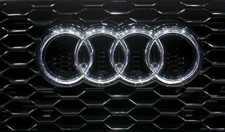 The company logo is seen on the bonnet of a Audi car during the media day ahead of the 84th Geneva Motor Show in Geneva