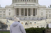 Preparations take place for President-elect Joe Biden's inauguration on the West Front of the U.S. Capitol in Washington, Friday, Jan. 8, 2021, after supporters of President Donald Trump stormed the building. (AP Photo/Patrick Semansky)