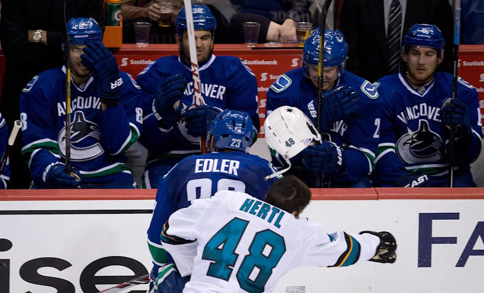 <b>Suspension: Three games</b> <br><br> Vancouver Canucks defenceman Alexander Edler was suspended three games for an illegal check to the head of San Jose Sharks forward Tomas Hertl on October 10, 2013.