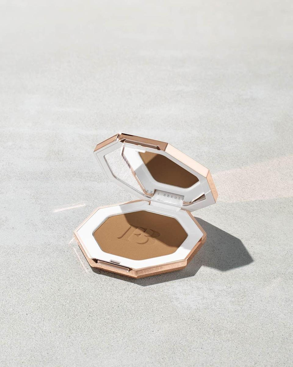 """<p><strong>Fenty Beauty</strong></p><p>fentybeauty.com</p><p><a href=""""https://go.redirectingat.com?id=74968X1596630&url=https%3A%2F%2Fwww.fentybeauty.com%2Fsun-stalkr-instant-warmth-bronzer%2FFB30015.html&sref=https%3A%2F%2Fwww.seventeen.com%2Fbeauty%2Fg34398305%2Ffenty-beauty-sale-october-2020%2F"""" rel=""""nofollow noopener"""" target=""""_blank"""" data-ylk=""""slk:SHOP IT"""" class=""""link rapid-noclick-resp"""">SHOP IT </a></p><p><strong><del>$30</del> $20.25 (33% off)</strong></p><p>Fenty's creamy, blendable, and transfer-resistant bronzing power is the perfect way to fake a tan during the long winter months ahead. </p>"""