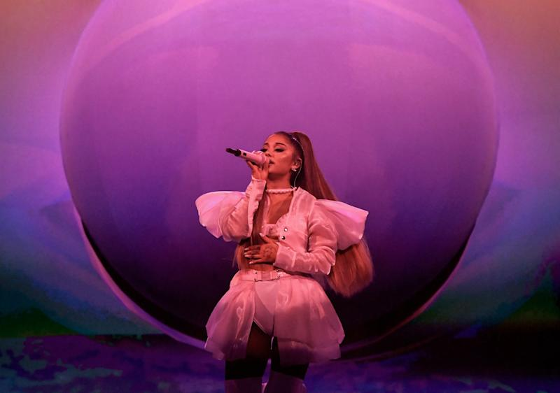 LONDON, ENGLAND - AUGUST 17: Ariana Grande performs on stage during her