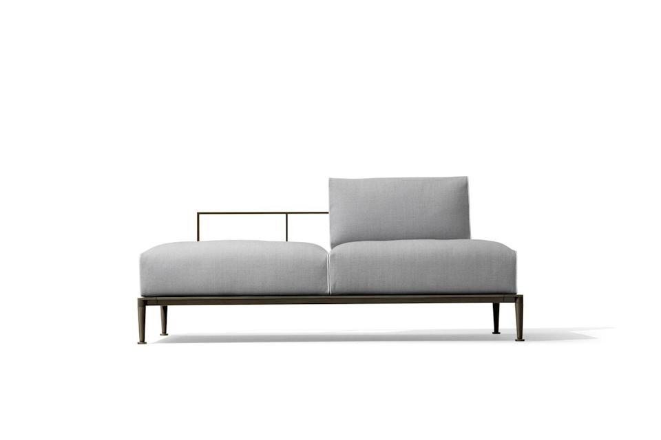 """<p>Chi Wing Lo has designed a minimalist frame for this outdoor sofa, maximising the impact of its chunky waterproof cushions. Its name comes from the Greek for 'the earth' and there's a grounded quality to its style. £7,755, <a href=""""https://www.giorgettimeda.com/en/products/open-air/gea-sofa"""" rel=""""nofollow noopener"""" target=""""_blank"""" data-ylk=""""slk:Giorgetti"""" class=""""link rapid-noclick-resp"""">Giorgetti</a></p>"""