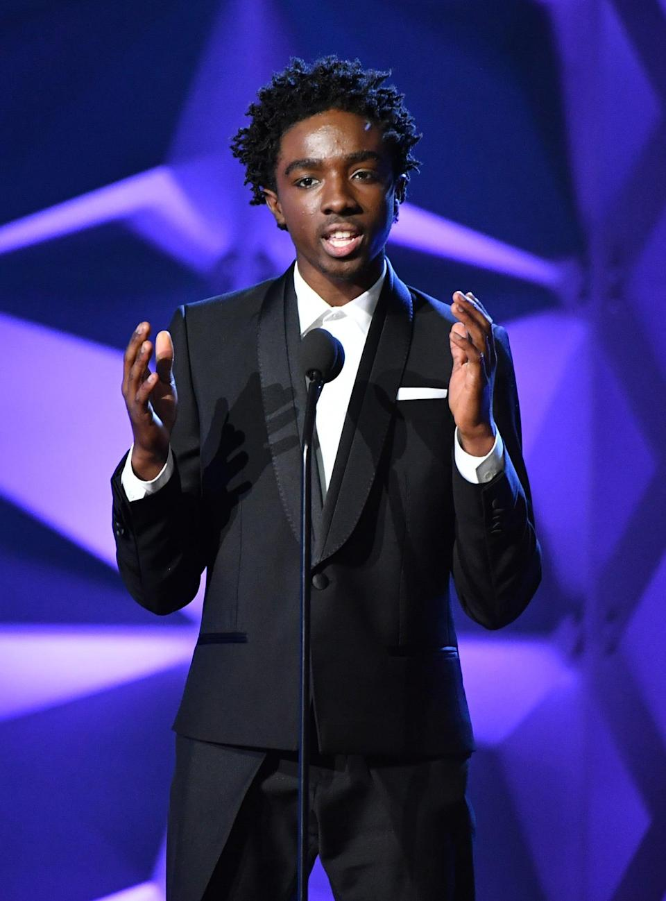 """<p>As a way to cope with his own self-confidence and love, <a href=""""https://www.instagram.com/therealcalebmclaughlin/"""" class=""""link rapid-noclick-resp"""" rel=""""nofollow noopener"""" target=""""_blank"""" data-ylk=""""slk:Caleb created"""">Caleb created</a> the #EmbraceYourFace and #BeYourBiggestFan movements. They're also a way for his fans and fellow cast members to embrace their own insecurities and share their stories. """"My parents always <a href=""""https://www.teenvogue.com/story/stranger-things-star-caleb-mclaughlin-talks-self-love-and-confidence"""" class=""""link rapid-noclick-resp"""" rel=""""nofollow noopener"""" target=""""_blank"""" data-ylk=""""slk:told me to be my biggest fan"""">told me to be my biggest fan</a> since I was young. When no one else is your fan, you have to be your own cheerleader,"""" he shared with <strong>Teen Vogue</strong>. """"I wanted to show people they have to love themselves and embrace that. I wanted to let them know I'm here for them and spread love.""""</p>"""