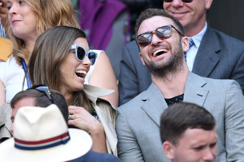 LONDON, ENGLAND - JULY 10:  Jessica Biel and Justin Timberlake attend day eight of the Wimbledon Tennis Championships at the All England Lawn Tennis and Croquet Club on July 10, 2018 in London, England.  (Photo by Karwai Tang/WireImage )