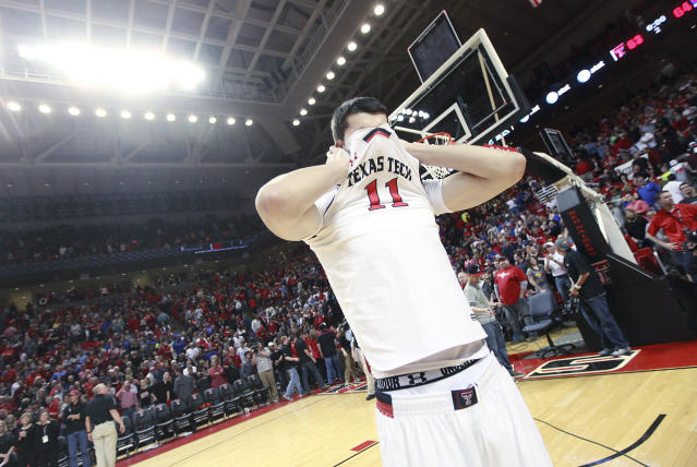 Texas Tech's Dejan Kravic reacts after his team was defeated by Kansas 64-63 during an NCAA college basketball game in Lubbock, Texas, Tuesday, Feb, 18, 2014. (AP Photo/Lubbock Avalanche-Journal, Stephen Spillman)
