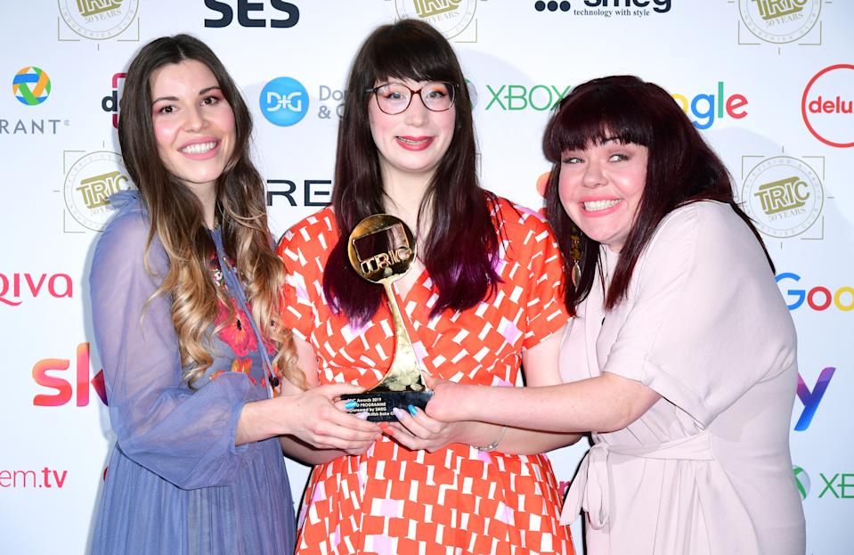 Manon Lagrève (left), Kim-Joy Hewlett, and Briony Williams with the award for Best Food Programme at the TRIC Awards 2019 50th Birthday Celebration held at the Grosvenor House Hotel, London. (Photo by Ian West/PA Images via Getty Images)