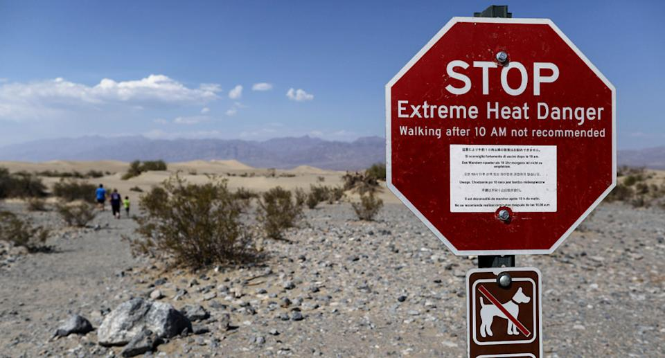 Sign warning about deadly heat in Death Valley.