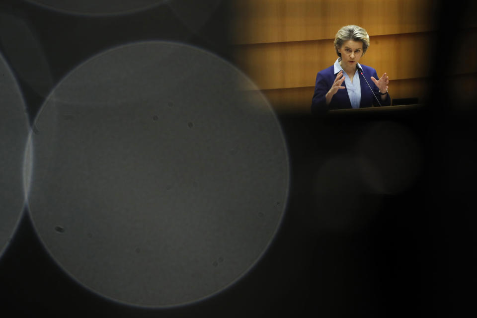 European Commission President Ursula von der Leyen speaks during a debate on the united EU approach to COVID-19 vaccinations at the European Parliament in Brussels, Wednesday, Feb. 10, 2021. (AP Photo/Francisco Seco)