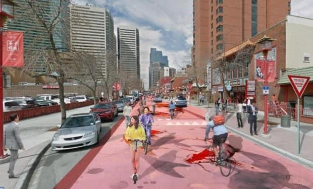 The city's final design includes a shared street, pictured, complete with speed humps and a koi fish mural. (Submitted by the City of Calgary - image credit)