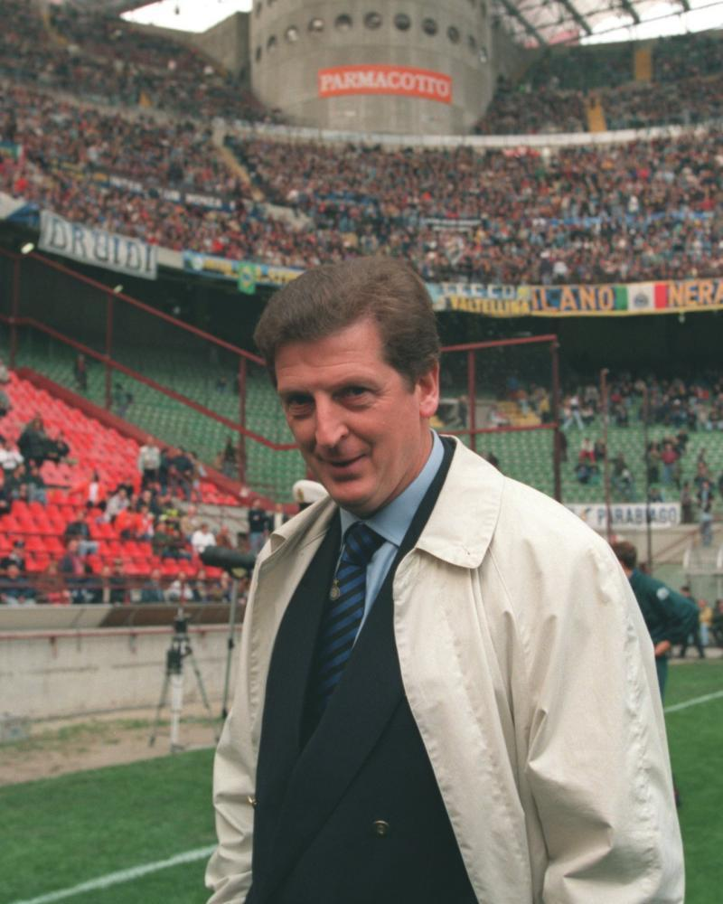 Roy Hodgson, aged 47, on the San Siro pitch before his first game in charge of Inter in October 1995.