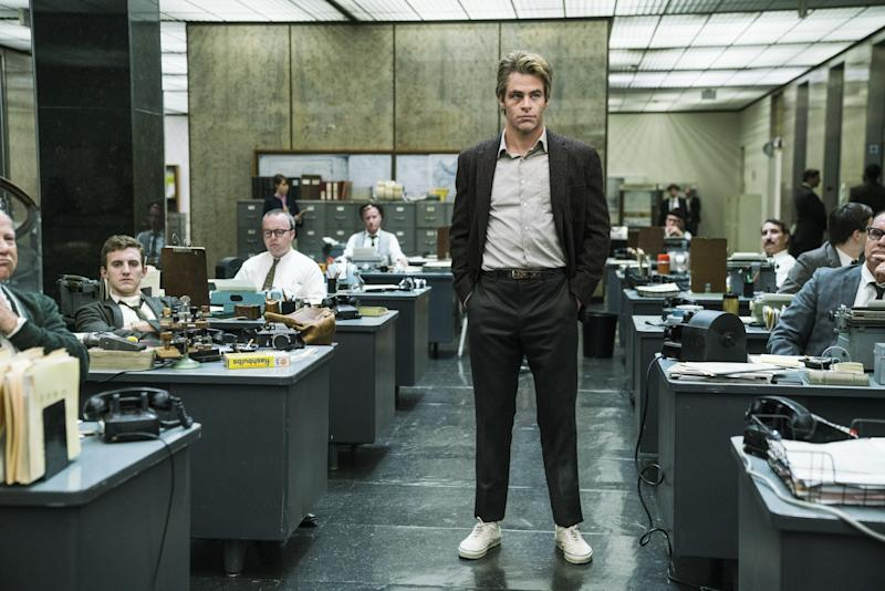 Chris Pine in the re-created offices of the L.A. Times.