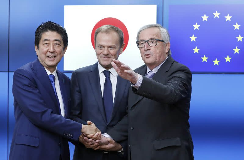 Japan's Prime Minister Shinzo Abe arrives at the EU headquarters in Brussels