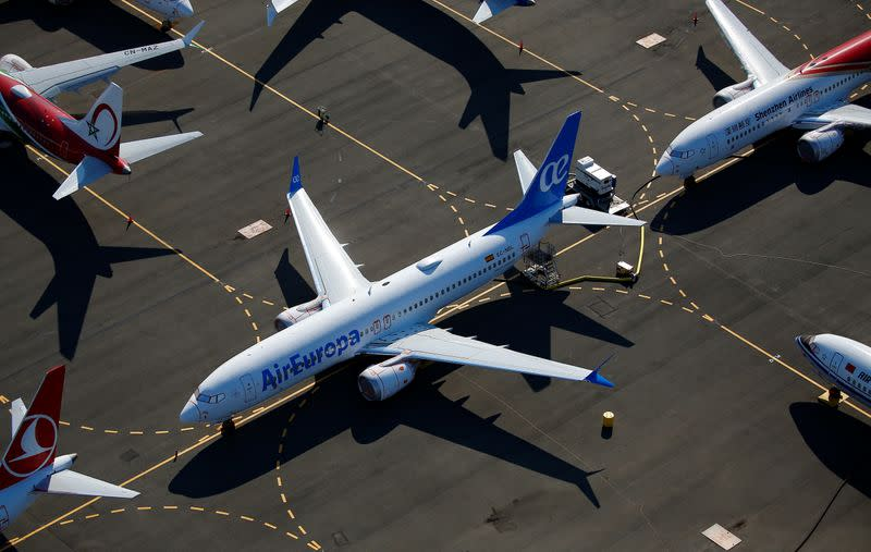 An Air Europa-branded Boeing 737 MAX aircraft is seen grounded at a storage area in an aerial photo at Boeing Field in Seattle