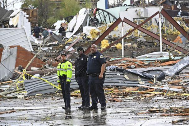 PHOTO: Police officers view damage along Woodland Street after a tornado touched down in Nashville, Tenn. March 3, 2020. (Harrison Mcclary/Reuters)