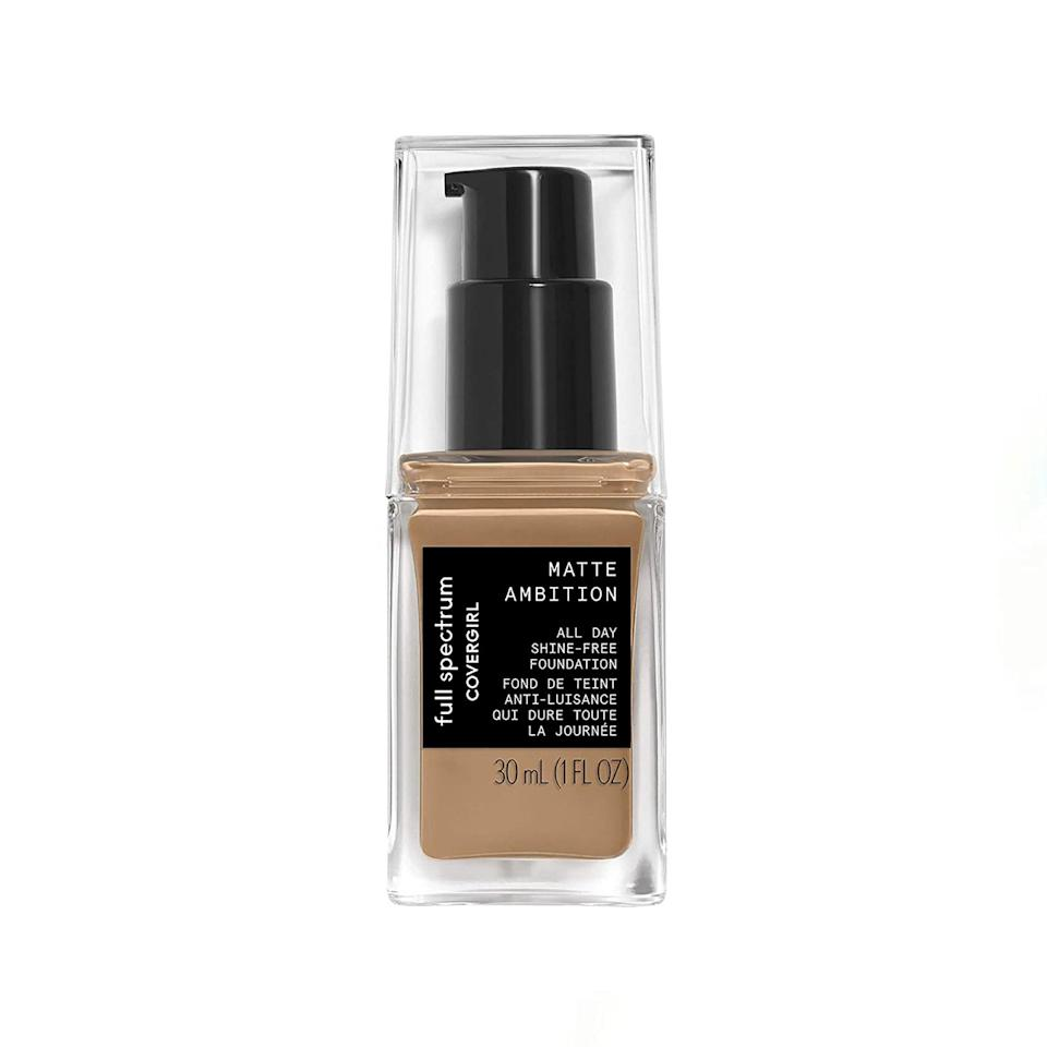 """The pigment of this foundation is super rich and the wear lasts all day. It dries down matte which is great for those days when you want some coverage but know you'll need to mask up when going out. —<em>M.O.</em> $9, Amazon. <a href=""""https://www.amazon.com/Covergirl-Spectrum-Matte-Ambition-Foundation/dp/B07KZ45TWN"""" rel=""""nofollow noopener"""" target=""""_blank"""" data-ylk=""""slk:Get it now!"""" class=""""link rapid-noclick-resp"""">Get it now!</a>"""