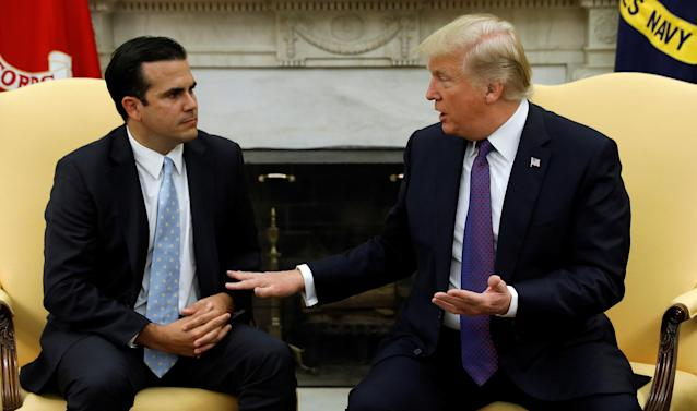 President Trump meets with Puerto Rico Gov. Ricardo Rosselló in the Oval Office on Oct. 19. (Photo: Kevin Lamarque/Reuters)