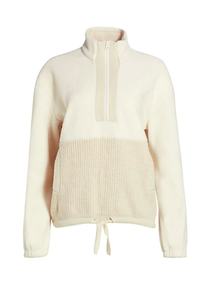 "Mix it up with this two-tone half-zip featuring a cozy fleece top and ribbed knit bottom. The drawstring hem allows for a fitted look at the waist. $188, Saks Fifth Avenue. <a href=""https://www.saksfifthavenue.com/product/splendid-boulder-half-zip-knit-pullover-0400013394091.html"" rel=""nofollow noopener"" target=""_blank"" data-ylk=""slk:Get it now!"" class=""link rapid-noclick-resp"">Get it now!</a>"