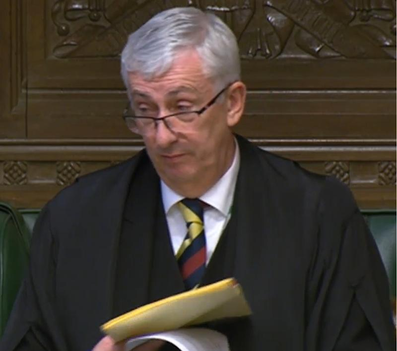 "House of Commons Speaker Sir Lindsay Hoyle reading out a statement in the House of Commons, London, prior to Prime Minister's Questions, in which he said the Government has shown a ""total disregard"" for Parliament with its handling of Covid-19 regulations and that he would not select any amendments to the motion to renew the Covid-19 regulations to avoid �uncertainty� and possible legal challenges."