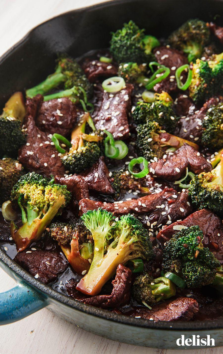 """<p>We like sirloin because it's budget-friendly. Flank or skirt steak work too! </p><p>Get the recipe from <a href=""""https://www.delish.com/cooking/recipe-ideas/a24489879/beef-and-broccoli-recipe/"""" rel=""""nofollow noopener"""" target=""""_blank"""" data-ylk=""""slk:Delish"""" class=""""link rapid-noclick-resp"""">Delish</a>.<br></p>"""