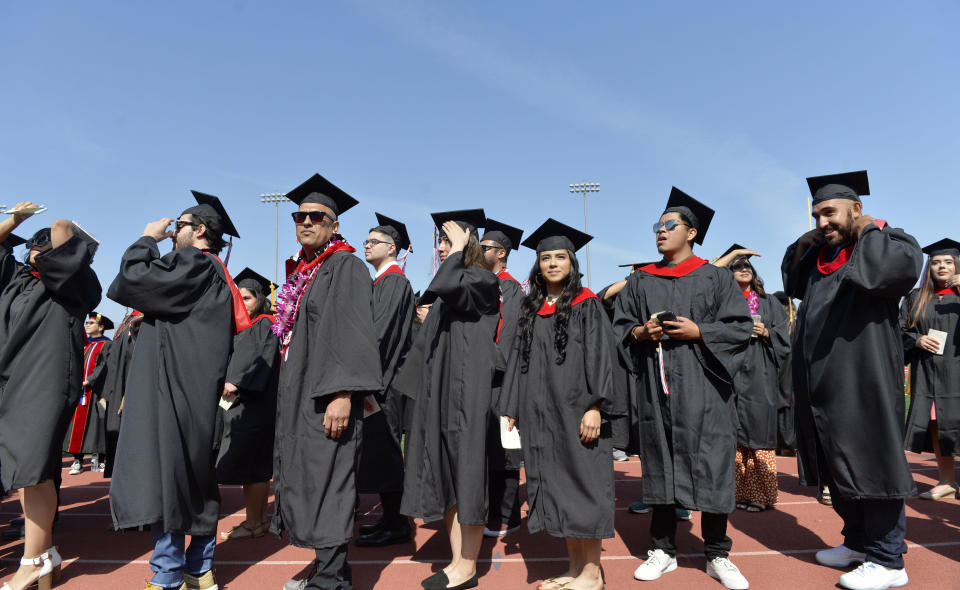 LONG BEACH, CA - JUNE 06: Long Beach City College graduates enter Veterans Memorial Stadium for their commencement ceremony in Long Beach on Thursday, June 6, 2019. (Photo by Brittany Murray/MediaNews Group/Long Beach Press-Telegram via Getty Images)