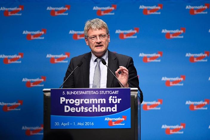 AfD co-leader Joerg Meuthen delivers a speech during a party congress at the Stuttgart Congress Centre ICS on April 30, 2016 (AFP Photo/Philipp Guelland)