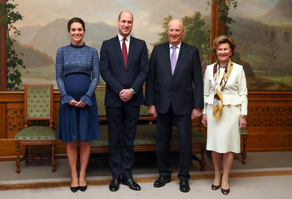 The royals attend a luncheon hosted by Norway's King Harald and Queen Sonja onthe third day of their trip.