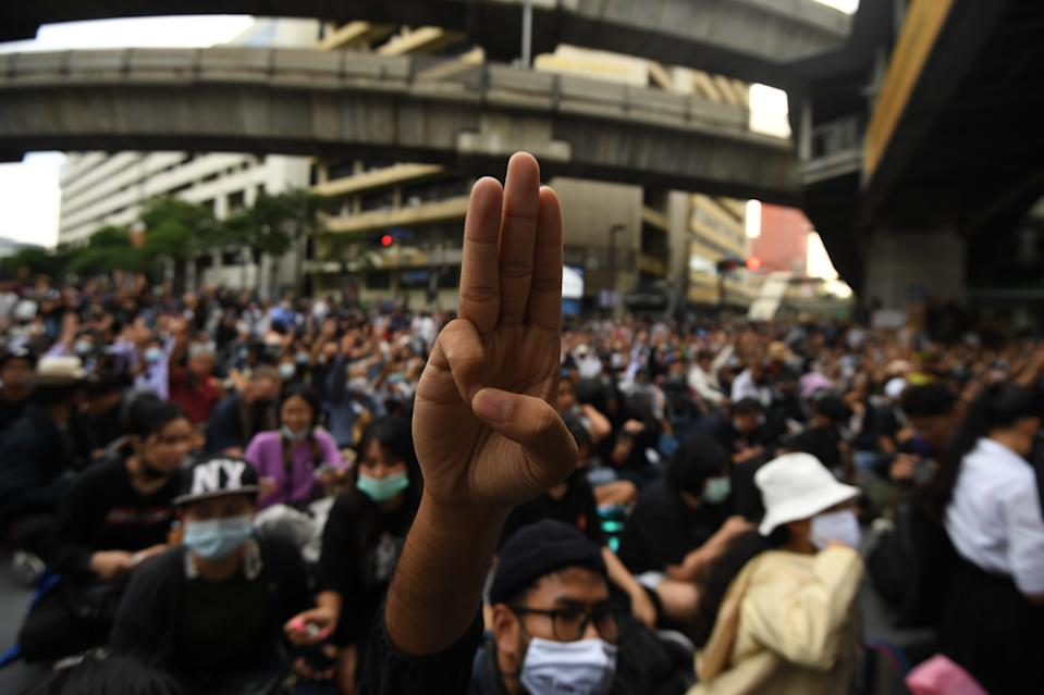 Pro-democracy protesters gather at Ratchaprasong interjection central of Bangkok near Royal Thai Police Headquarter on October 15, 2020 in Bangkok, Thailand. (Photo by Vachira Vachira/NurPhoto via Getty Images)