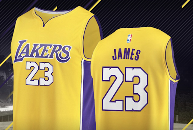 LeBron James jerseys with the No. 23 are already on sale in the Lakers online shop, and they're really, really popular. (Lakers online shop)