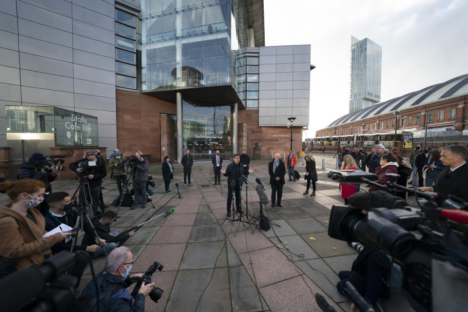 Greater Manchester mayor Andy Burnham speaks to the media outside Bridgewater Hall, following last-ditch talks with the Prime Minister aimed at securing additional financial support for his consent on new coronavirus restrictions, in Manchester, England, Tuesday, Oct. 20, 2020. The British government appeared poised Tuesday to impose strict coronavirus restrictions on England's second-largest city after talks with officials in Greater Manchester failed to reach an agreement on financial support for people whose livelihoods will be hit by the new measures (AP Photo/Jon Super)