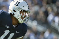 FILE - Penn State linebacker Micah Parsons (11) is shown during an NCAA college football game against Purdue in State College, Pa., in this Saturday, Oct. 5, 2019, file photo. Parsons is a possible first round pick in the NFL Draft, April 29-May 1, 2021, in Cleveland. (AP Photo/Barry Reeger, File)