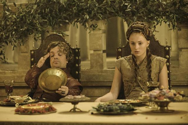 """Peter Dinklage and Sophie Turner in the """"Game of Thrones"""" episode, """"Second Sons."""""""