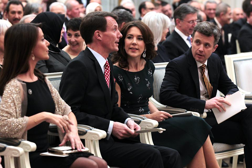 COPENHAGEN, DENMARK - MARCH 18 :  (L-R) Princess Marie and Prince Joachim of Denmark with Crown Princess Mary and Crown Prince Frederik of Denmark attend a reception in honor of Queen Margrethe II and her husband, Prince Consort Henrik in Copenhagen, Denmark on March 18, 2014. (Photo by Mehmet Kaman/Anadolu Agency/GettyImages)