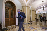 Senate Majority Leader Chuck Schumer, D-N.Y., arrives for work as the second impeachment trial of former President Donald Trump begins today in the Senate, at the Capitol in Washington, Tuesday, Feb. 9, 2021. (AP Photo/J. Scott Applewhite)