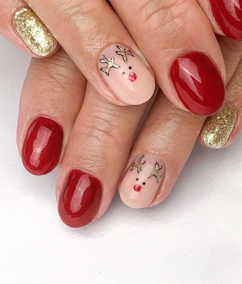 "<p>Add a minimalist accent nail on the ring finger like <a href=""https://www.instagram.com/_nailgirlshae/"" rel=""nofollow noopener"" target=""_blank"" data-ylk=""slk:nail artist Shae-Lynne"" class=""link rapid-noclick-resp"">nail artist Shae-Lynne</a> did with this cute rendition of Rudolph the Red-Nosed Reindeer.</p><p><a class=""link rapid-noclick-resp"" href=""https://go.redirectingat.com?id=74968X1596630&url=https%3A%2F%2Fwww.etsy.com%2Flisting%2F840828154%2F2-pieces-christmas-nail-art-crystal&sref=https%3A%2F%2Fwww.oprahmag.com%2Fbeauty%2Fg34113691%2Fchristmas-nail-ideas%2F"" rel=""nofollow noopener"" target=""_blank"" data-ylk=""slk:SHOP NAIL CHARMS"">SHOP NAIL CHARMS</a></p>"