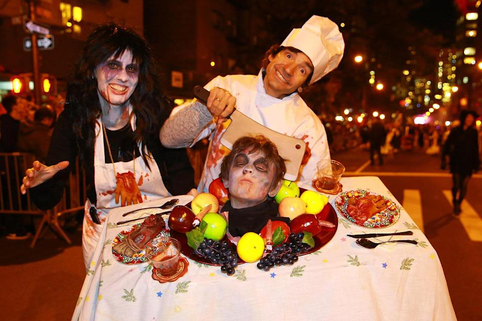 <p>People look prepared for an grisly dinner at the 44th annual Village Halloween Parade in New York City on Oct. 31, 2017. (Photo: Gordon Donovan/Yahoo News) </p>