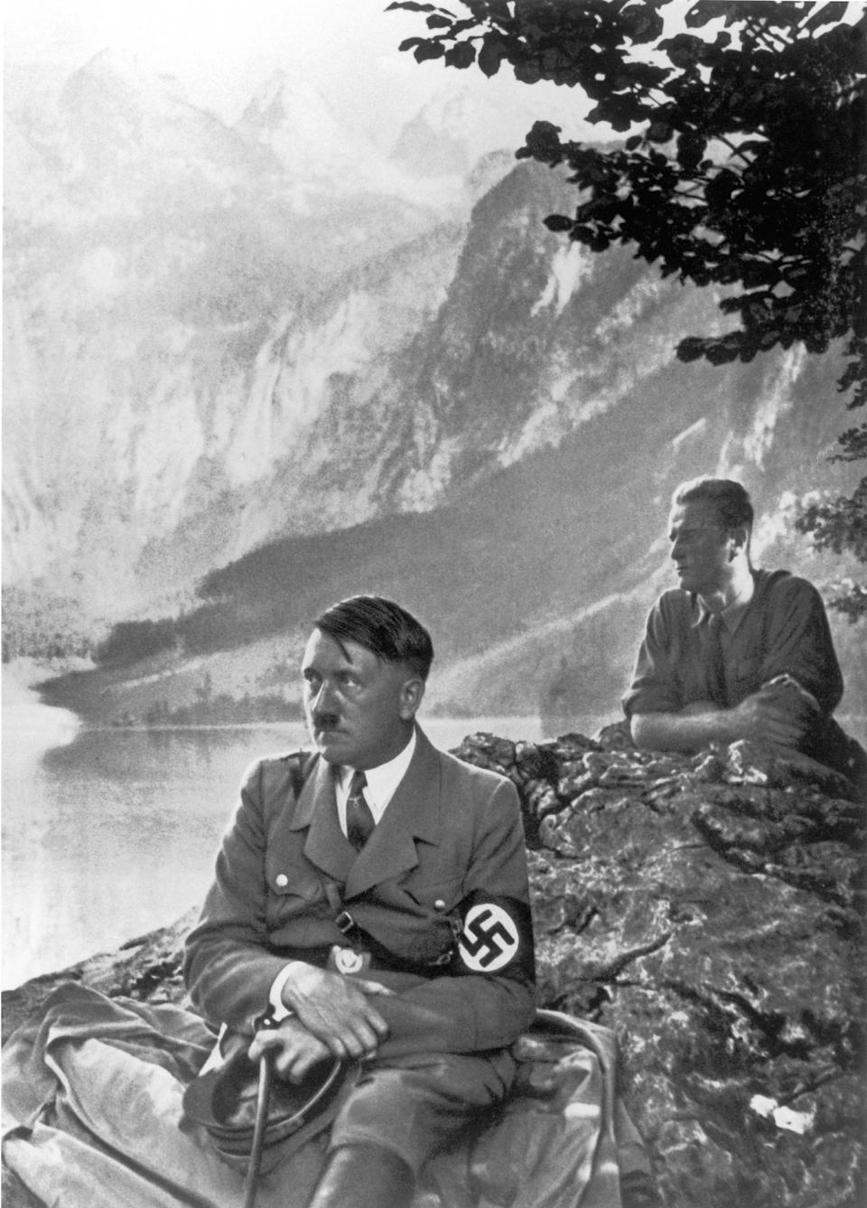 GERMANY - JANUARY 01:  Adolf HITLER posing on the banks of a lake near his chalet at Berchtesgaden, in the Bavarian Alps, in the 1930's.  (Photo by Keystone-France/Gamma-Keystone via Getty Images)