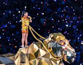 """<p>Perry opened her performance in a flaming two-piece by Jeremy Scott on a giant mechanical lion.</p><p><a class=""""link rapid-noclick-resp"""" href=""""https://www.youtube.com/watch?v=ZD1QrIe--_Y&ab_channel=NFL"""" rel=""""nofollow noopener"""" target=""""_blank"""" data-ylk=""""slk:WATCH NOW"""">WATCH NOW</a></p>"""