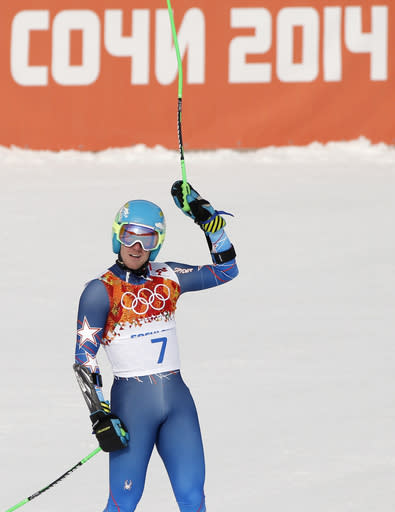 United States' Ted Ligety reacts after finishing the first run of the men's giant slalom at the Sochi 2014 Winter Olympics, Wednesday, Feb. 19, 2014, in Krasnaya Polyana, Russia. (AP Photo/Christophe Ena)