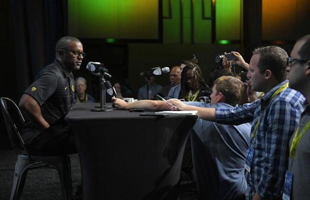 Oregon coach Willie Taggart had his first Pac-12 Media Days experience. (AP Photo/Mark J. Terrill)