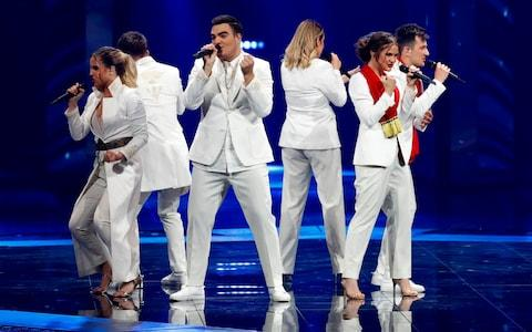 Montenegro's D mol perform the song Heaven during the first semi-final. It was not heavenly  - Credit: AFP
