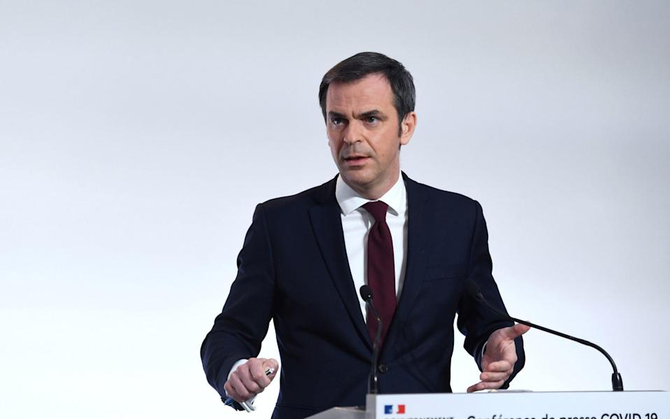 French Health Minister Olivier Veran speaks during a press conference on the French government's current strategy - Alan Jocard/Pool via Reuters