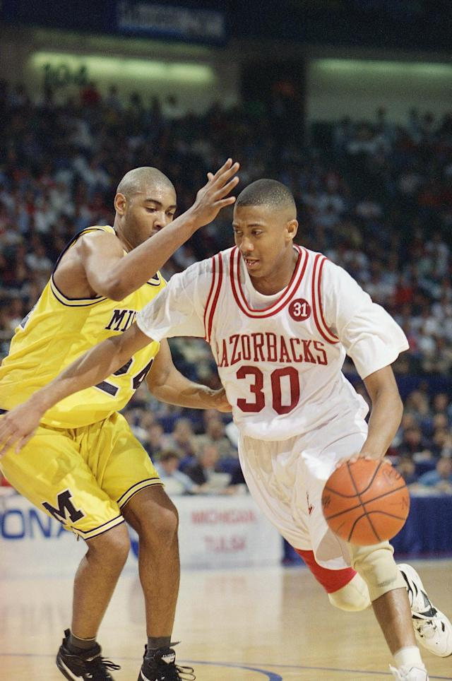 <p>Then: His high-arcing three-pointer with one second left on the shot clock gave Arkansas a 73-70 lead over Duke with under a minute to play in the 1994 national title game, which the Razorbacks would go on to win.<br>Now: After surprisingly going undrafted in the NBA, Thurman had a productive career playing overseas. He returned to Arkansas in 2010 in a career-development capacity but has since moved to the bench, where he's been an assistant coach on the men's team since 2016. </p>