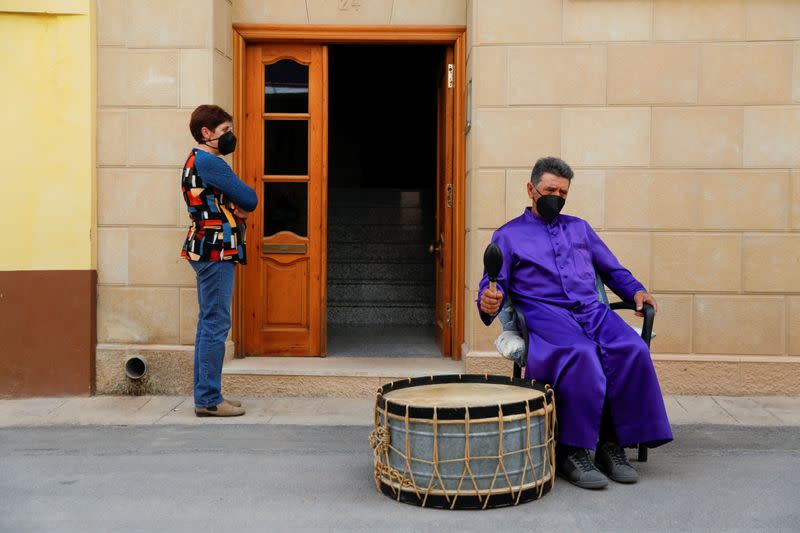 Residents perform traditional Good Friday drum concert amid COVID-19 restrictions in Calanda
