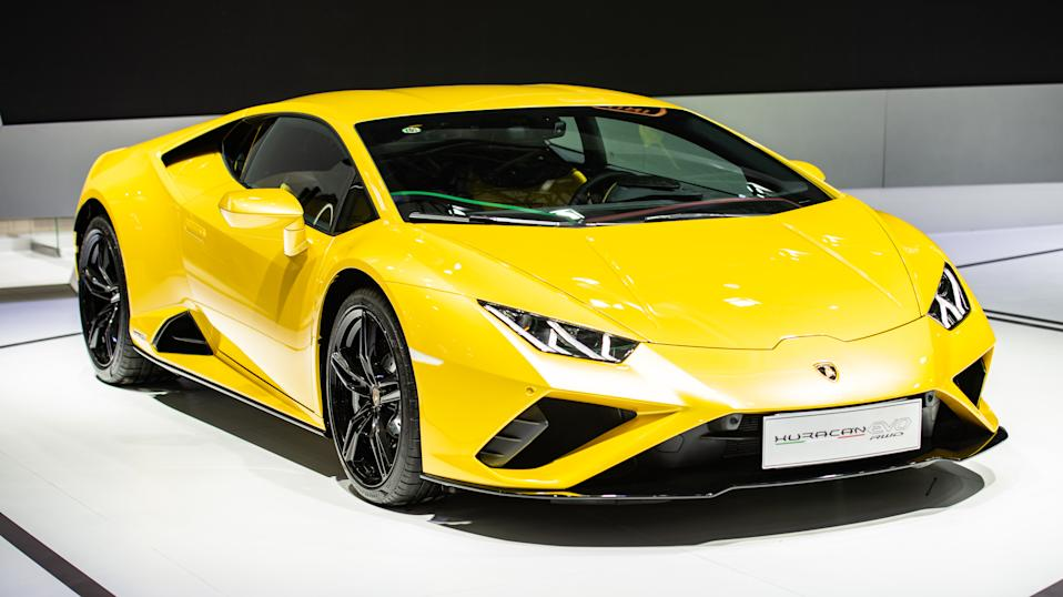 GUANGZHOU, CHINA - NOVEMBER 20: A Lamborghini Huracan Evo RWD sports car is on display during the 18th Guangzhou International Automobile Exhibition at China Import and Export Fair Complex on November 20, 2020 in Guangzhou, Guangdong Province of China. (Photo by Li Yu/VCG via Getty Images)
