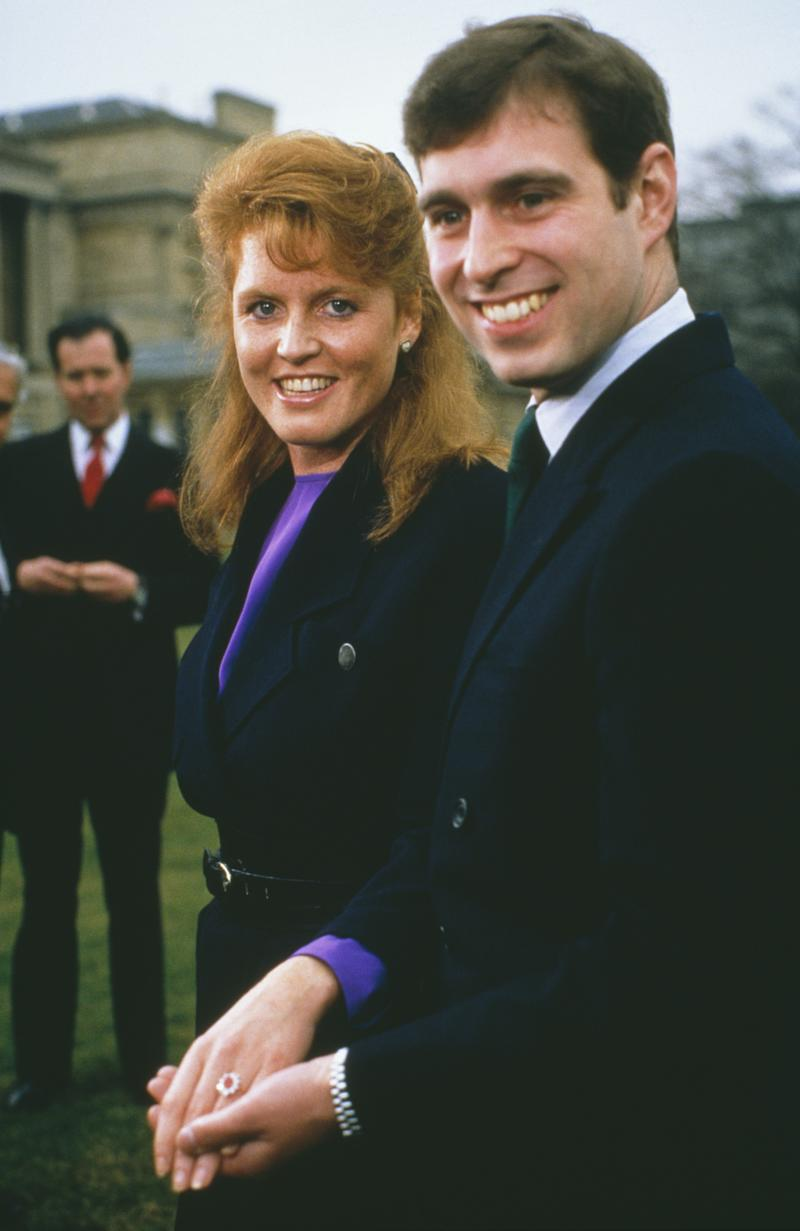 Prince Andrew with Sarah Ferguson at Buckingham Palace after the announcement of their engagement. Photo by Tim Graham/Getty Images.
